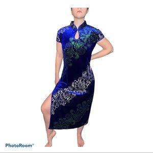 NWT Cherie Bliss Cheongsam Blue Velvet Type Dress